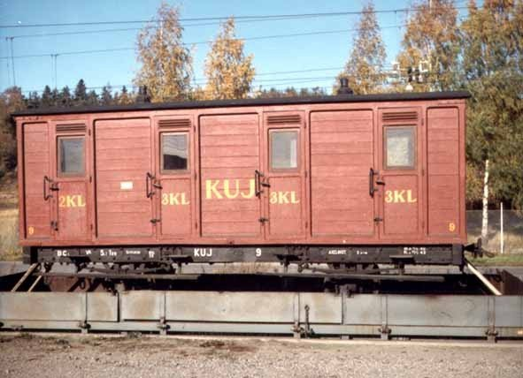 KUJ passenger coach BC 9 at the return to Köping from the Swedish National Railway Museum in 1969.
